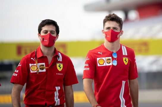 Charles Leclerc (MON) Ferrari walks the circuit with the team. 10.09.2020. Formula 1 World Championship, Rd 9, Tuscan Grand Prix, Mugello, Italy, Preparation Day. - www.xpbimages.com, EMail: requests@xpbimages.com © Copyright: Bearne / XPB Images