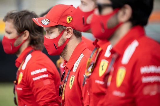 Sebastian Vettel (GER) Ferrari walks the circuit with the team. 10.09.2020. Formula 1 World Championship, Rd 9, Tuscan Grand Prix, Mugello, Italy, Preparation Day. - www.xpbimages.com, EMail: requests@xpbimages.com © Copyright: Bearne / XPB Images