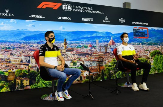 (L to R): Esteban Ocon (FRA) Renault F1 Team and Daniel Ricciardo (AUS) Renault F1 Team in the FIA Press Conference. 10.09.2020. Formula 1 World Championship, Rd 9, Tuscan Grand Prix, Mugello, Italy, Preparation Day. - www.xpbimages.com, EMail: requests@xpbimages.com © Copyright: FIA Pool Image for Editorial Use Only