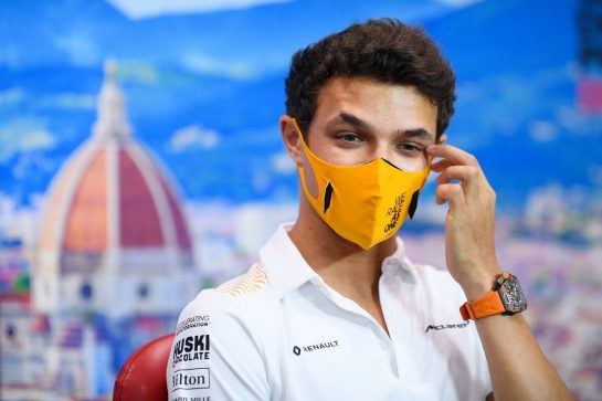 Lando Norris (GBR) McLaren in the FIA Press Conference. 10.09.2020. Formula 1 World Championship, Rd 9, Tuscan Grand Prix, Mugello, Italy, Preparation Day. - www.xpbimages.com, EMail: requests@xpbimages.com © Copyright: FIA Pool Image for Editorial Use Only