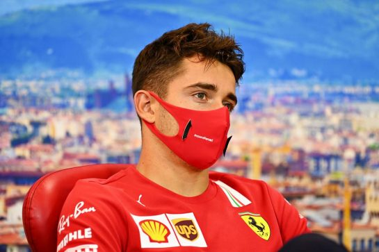 Charles Leclerc (MON) Ferrari in the FIA Press Conference. 10.09.2020. Formula 1 World Championship, Rd 9, Tuscan Grand Prix, Mugello, Italy, Preparation Day. - www.xpbimages.com, EMail: requests@xpbimages.com © Copyright: FIA Pool Image for Editorial Use Only