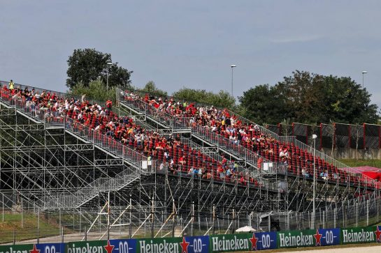 Fans in the grandstand during the first F3 session. 11.09.2020. Formula 1 World Championship, Rd 9, Tuscan Grand Prix, Mugello, Italy, Practice Day. - www.xpbimages.com, EMail: requests@xpbimages.com © Copyright: Batchelor / XPB Images