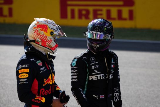 (L to R): Max Verstappen (NLD) Red Bull Racing with Lewis Hamilton (GBR) Mercedes AMG F1 in qualifying parc ferme. 12.09.2020. Formula 1 World Championship, Rd 9, Tuscan Grand Prix, Mugello, Italy, Qualifying Day. - www.xpbimages.com, EMail: requests@xpbimages.com © Copyright: Bearne / XPB Images