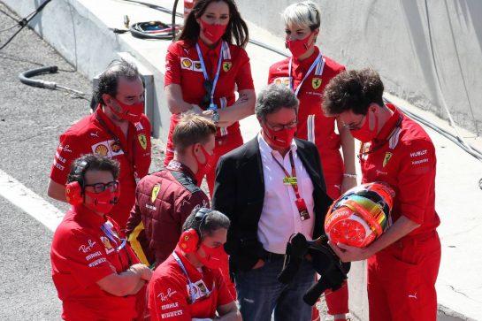 Mick Schumacher (GER) Prema Racing Formula 2 Driver with Louis Camilleri (ITA) Ferrari Chief Executive Officer and Mattia Binotto (ITA) Ferrari Team Principal. 13.09.2020. Formula 1 World Championship, Rd 9, Tuscan Grand Prix, Mugello, Italy, Race Day. - www.xpbimages.com, EMail: requests@xpbimages.com © Copyright: Batchelor / XPB Images