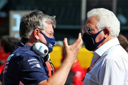 (L to R): Otmar Szafnauer (USA) Racing Point F1 Team Principal and CEO with Lawrence Stroll (CDN) Racing Point F1 Team Investor. 13.09.2020. Formula 1 World Championship, Rd 9, Tuscan Grand Prix, Mugello, Italy, Race Day. - www.xpbimages.com, EMail: requests@xpbimages.com © Copyright: Batchelor / XPB Images