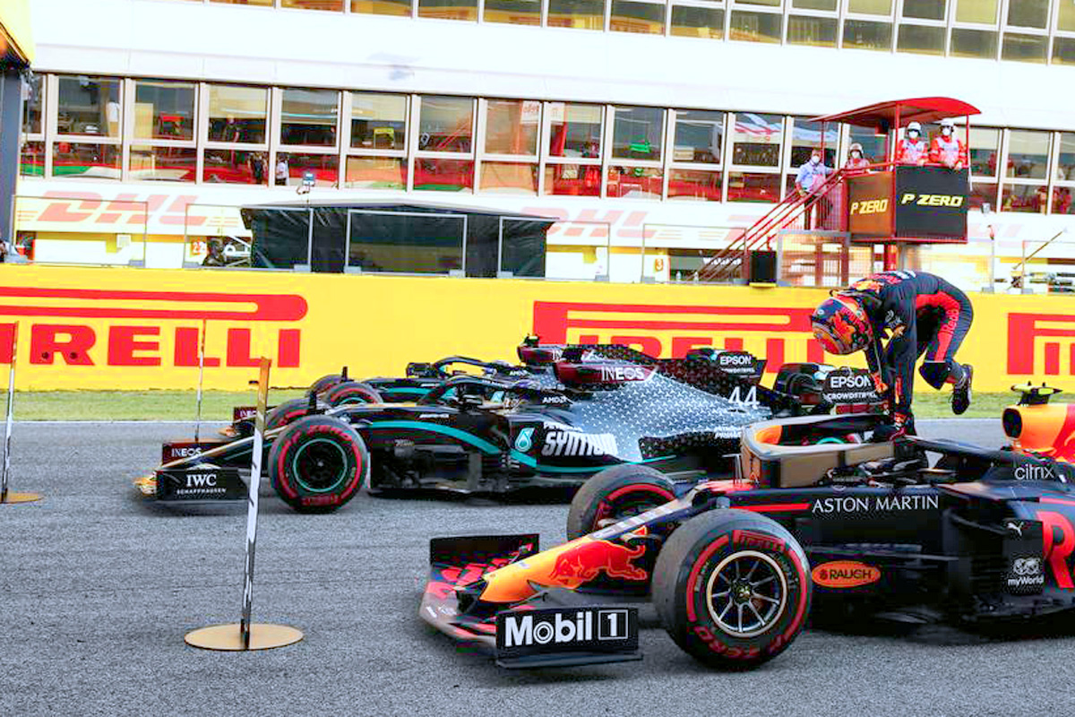 Third placed Alexander Albon (THA) Red Bull Racing RB16 in parc ferme with race winner Lewis Hamilton (GBR) Mercedes AMG F1 W11 and second placed Valtteri Bottas (FIN) Mercedes AMG F1 W11.
