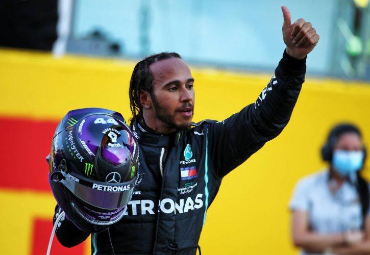 Race winner Lewis Hamilton (GBR) Mercedes AMG F1 celebrates in parc ferme.