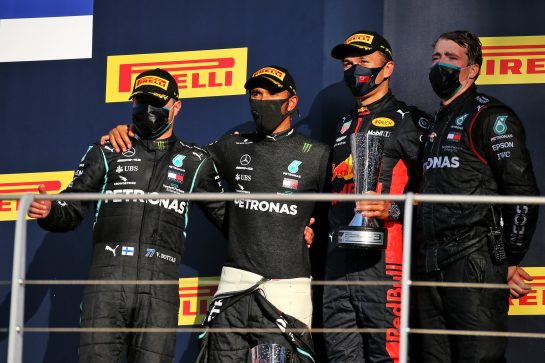 The podium (L to R): Valtteri Bottas (FIN) Mercedes AMG F1, second; Lewis Hamilton (GBR) Mercedes AMG F1, race winner; Alexander Albon (THA) Red Bull Racing, third. 13.09.2020. Formula 1 World Championship, Rd 9, Tuscan Grand Prix, Mugello, Italy, Race Day. - www.xpbimages.com, EMail: requests@xpbimages.com © Copyright: Batchelor / XPB Images