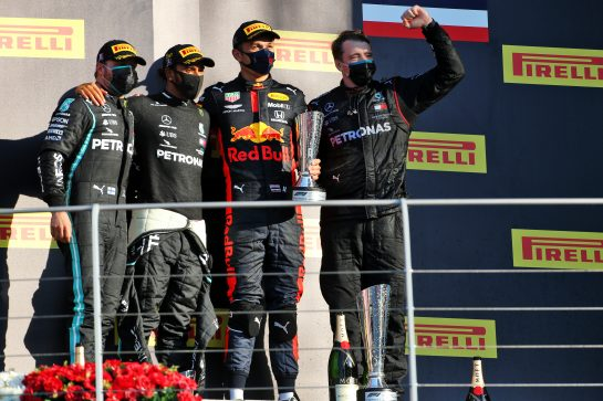 The podium (L to R): Valtteri Bottas (FIN) Mercedes AMG F1, second; Lewis Hamilton (GBR) Mercedes AMG F1, race winner; Alexander Albon (THA) Red Bull Racing, third. 13.09.2020. Formula 1 World Championship, Rd 9, Tuscan Grand Prix, Mugello, Italy, Race Day. - www.xpbimages.com, EMail: requests@xpbimages.com © Copyright: Charniaux / XPB Images