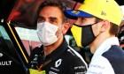 Cyril Abiteboul (FRA) Renault Sport F1 Managing Director with race retiree Esteban Ocon (FRA) Renault F1 Team.