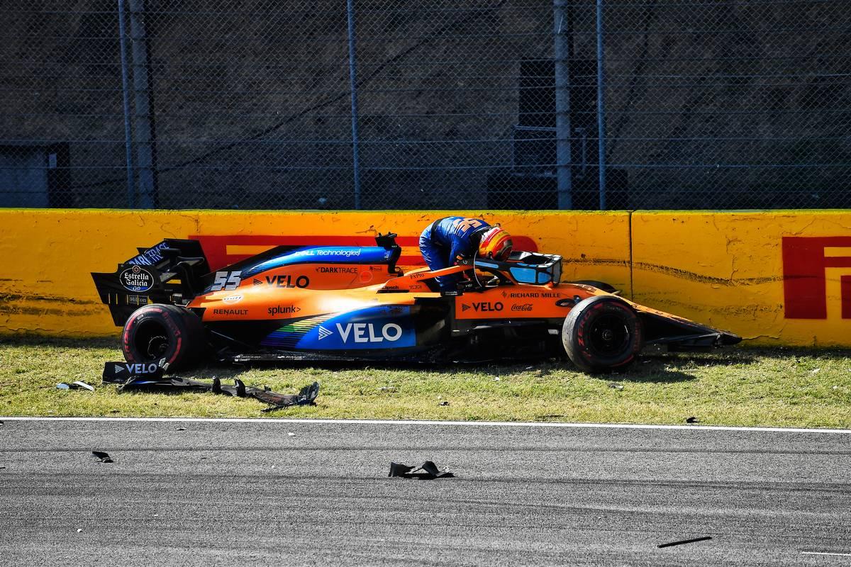 Carlos Sainz Jr (ESP) McLaren MCL35 crashed out of the race.
