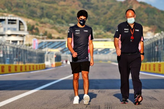 Lance Stroll (CDN) Racing Point F1 Team walks the circuit with Tom McCullough (GBR) Racing Point F1 Team Chief Engineer. 24.09.2020. Formula 1 World Championship, Rd 10, Russian Grand Prix, Sochi Autodrom, Sochi, Russia, Preparation Day. - www.xpbimages.com, EMail: requests@xpbimages.com © Copyright: Batchelor / XPB Images