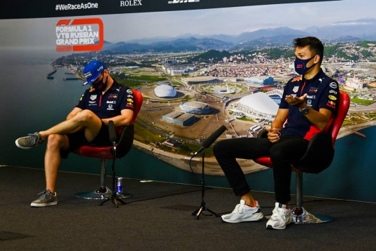 (L to R): Max Verstappen (NLD) Red Bull Racing and team mate Alexander Albon (THA) Red Bull Racing in the FIA Press Conference. 24.09.2020. Formula 1 World Championship, Rd 10, Russian Grand Prix, Sochi Autodrom, Sochi, Russia, Preparation Day. - www.xpbimages.com, EMail: requests@xpbimages.com © Copyright: FIA Pool Image for Editorial Use Only