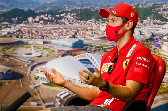 Sebastian Vettel (GER) Ferrari in the FIA Press Conference. 24.09.2020. Formula 1 World Championship, Rd 10, Russian Grand Prix, Sochi Autodrom, Sochi, Russia, Preparation Day. - www.xpbimages.com, EMail: requests@xpbimages.com © Copyright: FIA Pool Image for Editorial Use Only
