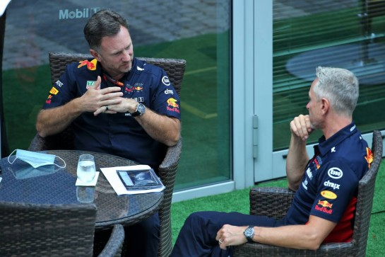 (L to R): Christian Horner (GBR) Red Bull Racing Team Principal with Jonathan Wheatley (GBR) Red Bull Racing Team Manager.