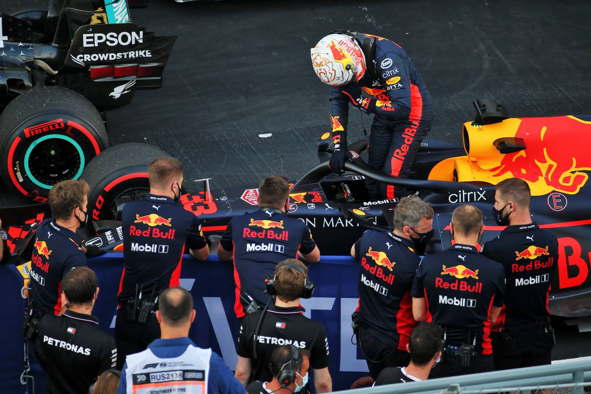 Second placed Max Verstappen (NLD) Red Bull Racing RB16 in qualifying parc ferme.