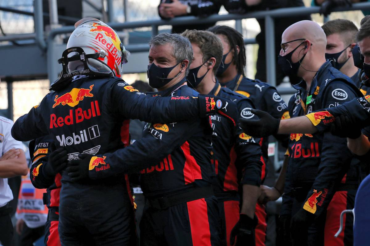 Max Verstappen (NLD) Red Bull Racing celebrates his second position with the team in parc ferme.