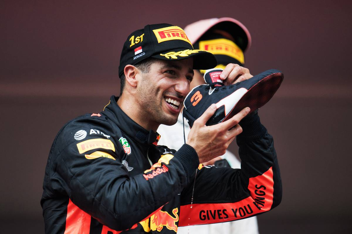 Race winner Daniel Ricciardo (AUS) Red Bull Racing celebrates on the podium.