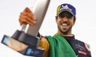 Antonio Felix da Costa celebrates clinching the 2019-20 Formula E title with DS Techeetah.
