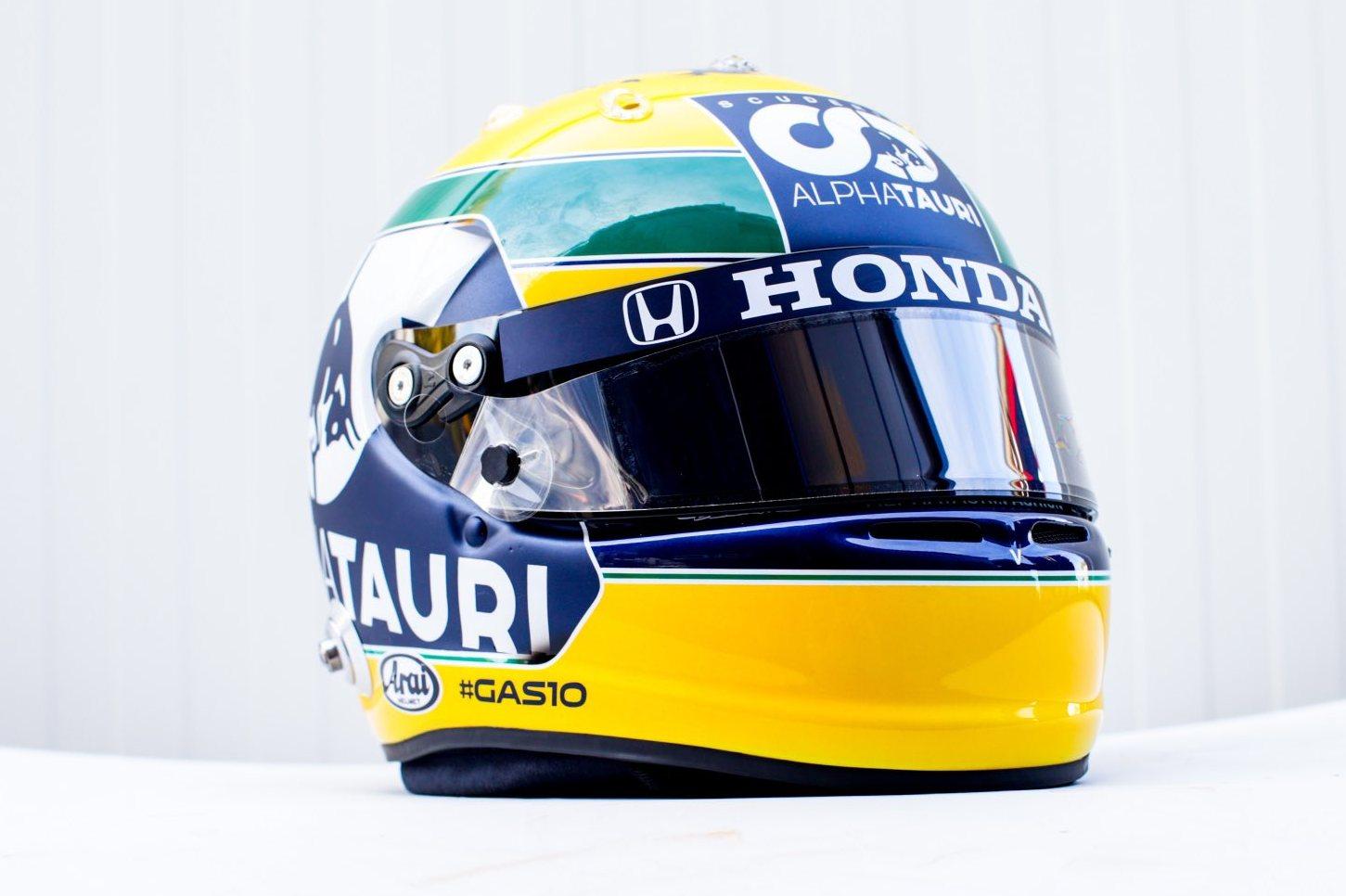 Gasly showcases Senna-themed tribute helmet at Imola