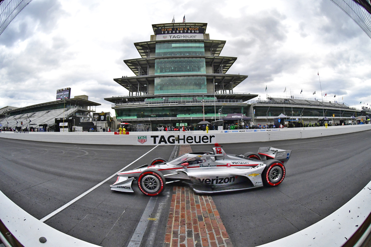 Will Power crosses the yard of bricks to win the Firestone IndyCar Harvest Grand Prix. Saturday October 3 2020.