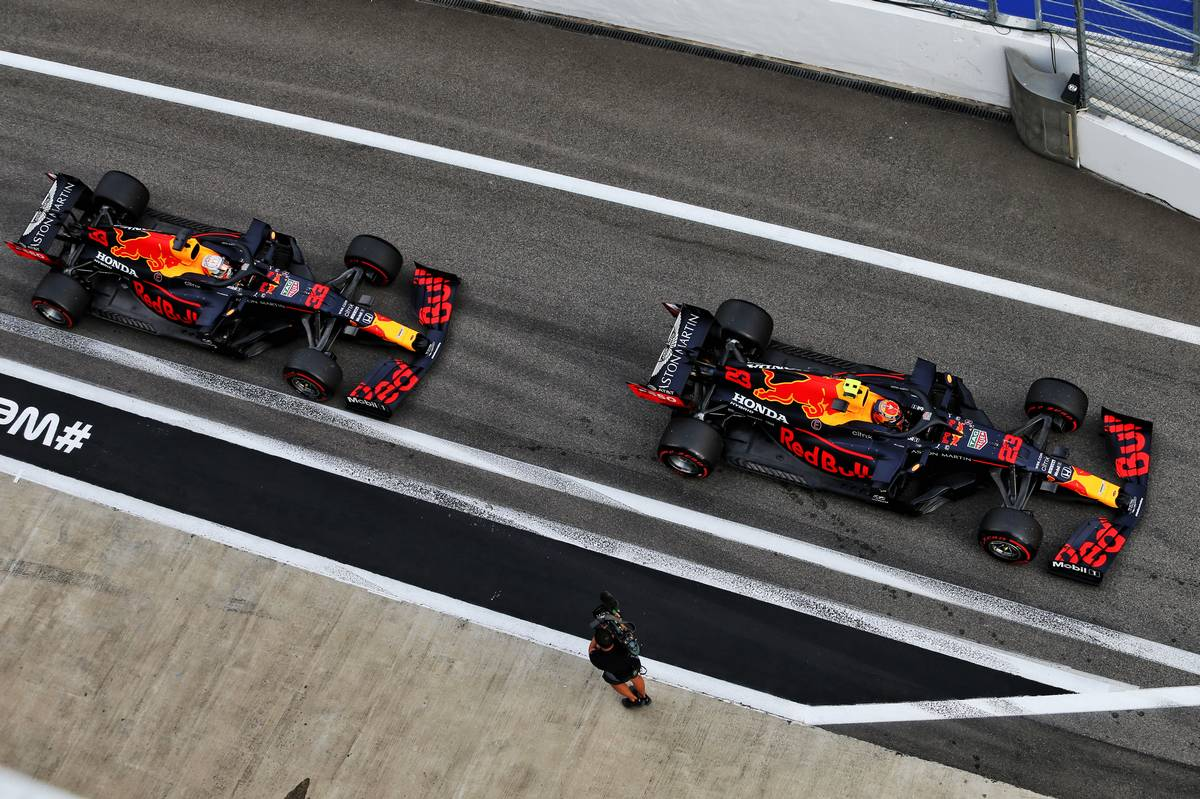 Alexander Albon (THA) Red Bull Racing RB16 and Max Verstappen (NLD) Red Bull Racing RB16.