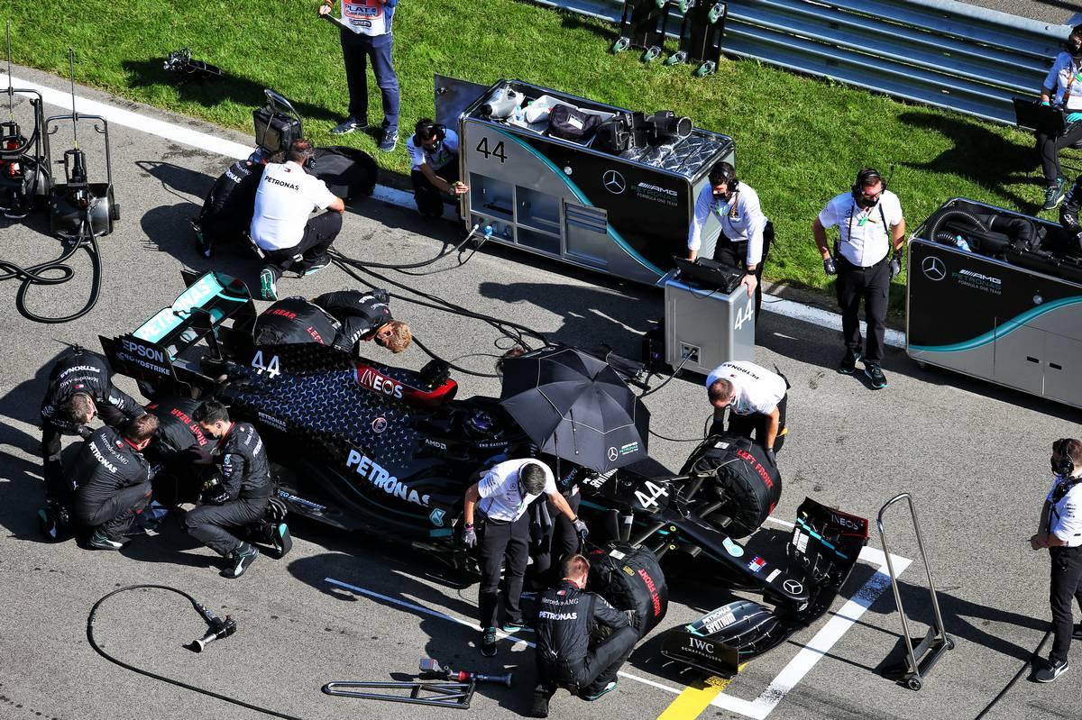 Lewis Hamilton (GBR) Mercedes AMG F1 W11 on the grid.