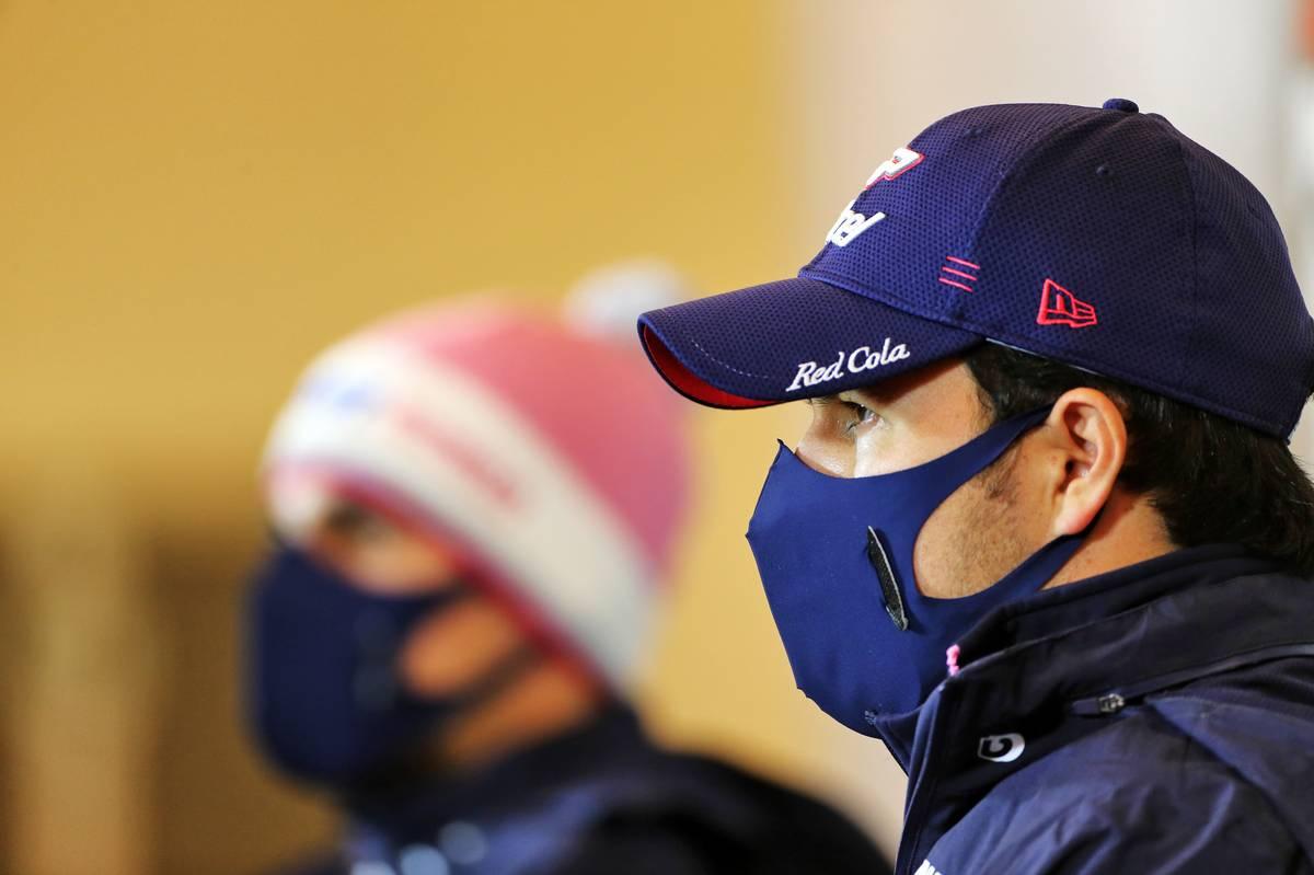 Sergio Perez (MEX) Racing Point F1 Team in the FIA Press Conference.