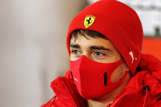 Charles Leclerc (MON) Ferrari in the FIA Press Conference. 08.10.2020. Formula 1 World Championship, Rd 11, Eifel Grand Prix, Nurbugring, Germany, Preparation Day. - www.xpbimages.com, EMail: requests@xpbimages.com © Copyright: Charniaux / XPB Images