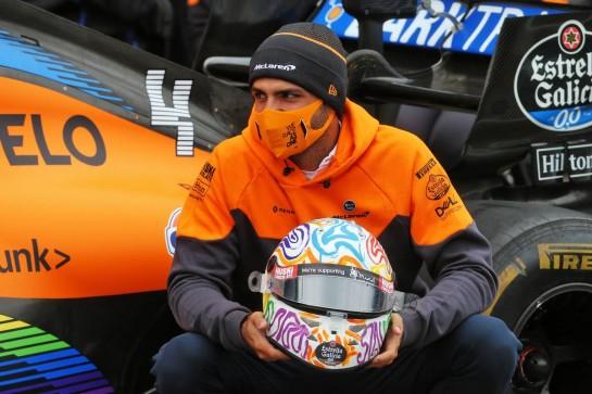 Carlos Sainz Jr (ESP) McLaren - World Mental Health Day, to be observed on 10th October. 08.10.2020. Formula 1 World Championship, Rd 11, Eifel Grand Prix, Nurbugring, Germany, Preparation Day. - www.xpbimages.com, EMail: requests@xpbimages.com © Copyright: Batchelor / XPB Images