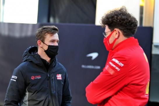 (L to R): Callum Ilott (GBR) Haas F1 Team Test Driver with Mattia Binotto (ITA) Ferrari Team Principal. 10.10.2020. Formula 1 World Championship, Rd 11, Eifel Grand Prix, Nurbugring, Germany, Qualifying Day. - www.xpbimages.com, EMail: requests@xpbimages.com © Copyright: Moy / XPB Images