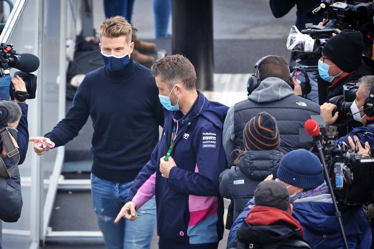 Nico Hulkenberg (GER) arrives in the paddock after Lance Stroll (CDN) Racing Point F1 Team missed the third practice session.