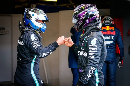 (L to R): Valtteri Bottas (FIN) Mercedes AMG F1 celebrates his pole position in qualifying parc ferme with second placed team mate Lewis Hamilton (GBR) Mercedes AMG F1. 10.10.2020. Formula 1 World Championship, Rd 11, Eifel Grand Prix, Nurbugring, Germany, Qualifying Day. - www.xpbimages.com, EMail: requests@xpbimages.com © Copyright: FIA Pool Image for Editorial Use Only