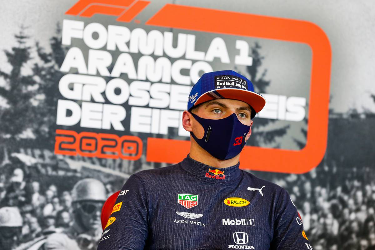 Max Verstappen (NLD) Red Bull Racing in the post qualifying FIA Press Conference.