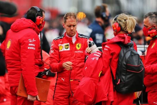 Sebastian Vettel (GER) Ferrari on the grid. 11.10.2020. Formula 1 World Championship, Rd 11, Eifel Grand Prix, Nurbugring, Germany, Race Day. - www.xpbimages.com, EMail: requests@xpbimages.com © Copyright: Charniaux / XPB Images