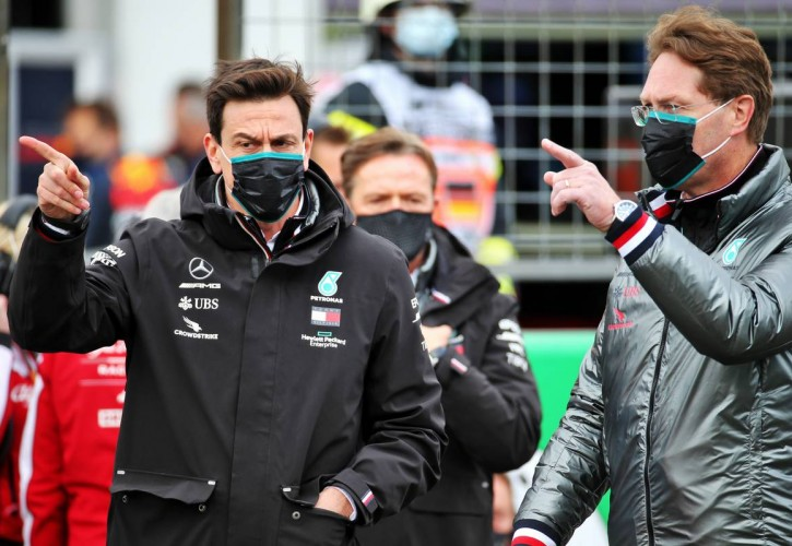 Toto Wolff (GER) Mercedes AMG F1 Shareholder and Executive Director with Ola Kallenius (SWE) Daimler Chairman of the Board of Management and Head of Mercedes-Benz on the grid.