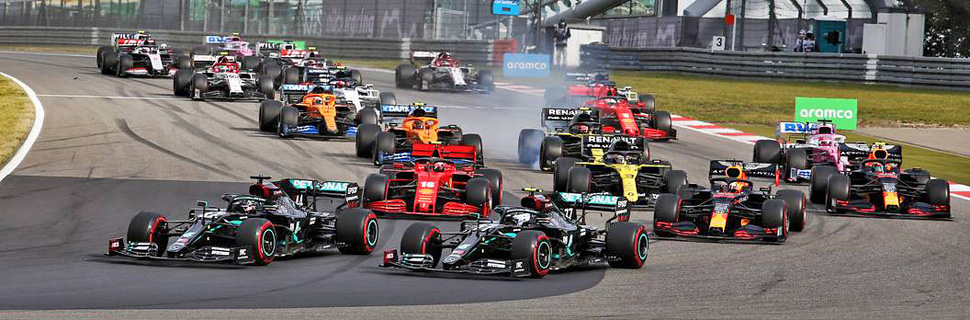 Lewis Hamilton (GBR) Mercedes AMG F1 W11 and Valtteri Bottas (FIN) Mercedes AMG F1 lead at the start of the race.