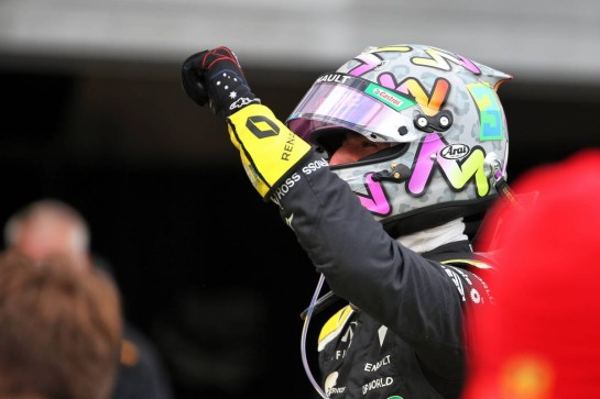 Daniel Ricciardo (AUS) Renault F1 Team celebrates his third position in parc ferme. 11.10.2020. Formula 1 World Championship, Rd 11, Eifel Grand Prix, Nurbugring, Germany, Race Day. - www.xpbimages.com, EMail: requests@xpbimages.com © Copyright: Batchelor / XPB Images