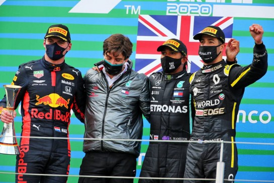 The podium (L to R): Max Verstappen (NLD) Red Bull Racing, second; Lewis Hamilton (GBR) Mercedes AMG F1, race winner; Daniel Ricciardo (AUS) Renault F1 Team, third. 11.10.2020. Formula 1 World Championship, Rd 11, Eifel Grand Prix, Nurbugring, Germany, Race Day. - www.xpbimages.com, EMail: requests@xpbimages.com © Copyright: Charniaux / XPB Images