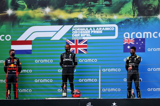The podium (L to R): Max Verstappen (NLD) Red Bull Racing, second; Lewis Hamilton (GBR) Mercedes AMG F1, race winner; Daniel Ricciardo (AUS) Renault F1 Team, third. 11.10.2020. Formula 1 World Championship, Rd 11, Eifel Grand Prix, Nurbugring, Germany, Race Day. - www.xpbimages.com, EMail: requests@xpbimages.com © Copyright: Batchelor / XPB Images