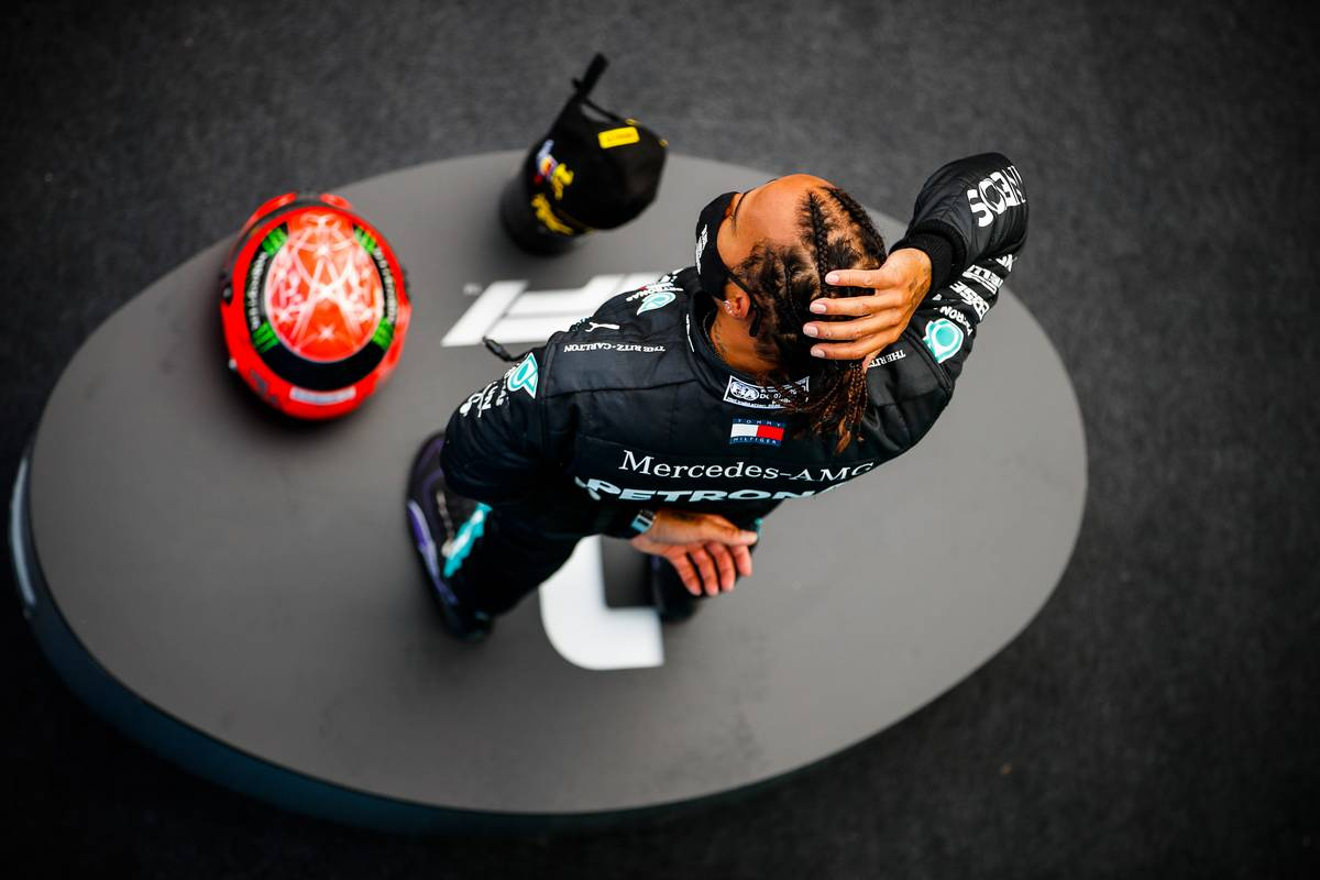 Race winner Lewis Hamilton (GBR) Mercedes AMG F1 celebrates on the podium. 11.10.2020. Formula 1 World Championship, Rd 11, Eifel Grand Prix, Nurbugring,