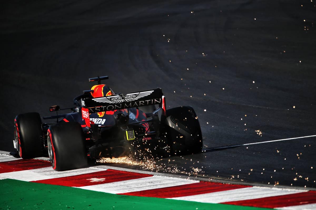 Max Verstappen (NLD) Red Bull Racing RB16 sends sparks flying.