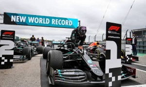Lewis Hamilton (GBR) Mercedes AMG F1 W11 celebrates his record breaking 92nd Grand Prix victory in parc ferme.