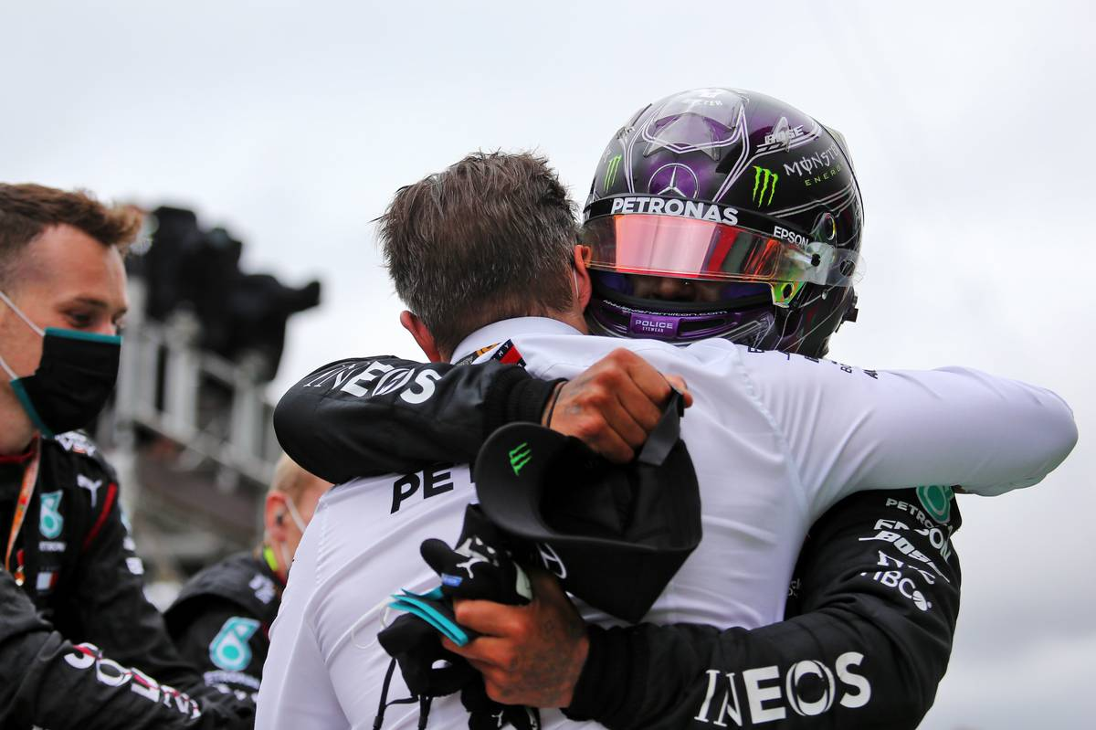 Lewis Hamilton (GBR) Mercedes AMG F1 celebrates his record breaking 92nd Grand Prix victory in parc ferme.