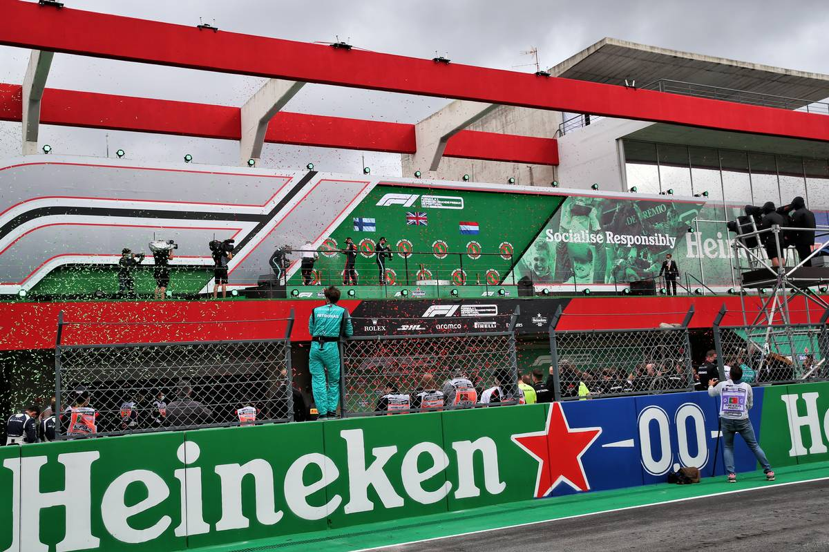 The podium (L to R): Valtteri Bottas (FIN) Mercedes AMG F1, second; Lewis Hamilton (GBR) Mercedes AMG F1, race winner; Max Verstappen (NLD) Red Bull Racing, third.