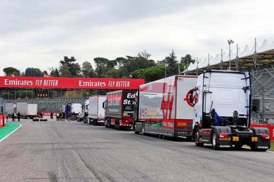 Circuit atmosphere - lorries on the start / finish straight.
