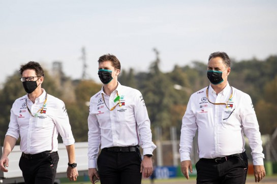 (L to R): Andrew Shovlin (GBR) Mercedes AMG F1 Engineer; James Vowles (GBR) Mercedes AMG F1 Chief Strategist; and Ron Meadows (GBR) Mercedes GP Team Manager, walk the circuit.