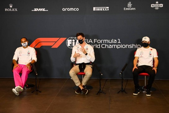 (L to R): Lewis Hamilton (GBR) Mercedes AMG F1; Toto Wolff (GER) Mercedes AMG F1 Shareholder and Executive Director; Valtteri Bottas (FIN) Mercedes AMG F1, in the FIA Press Conference.