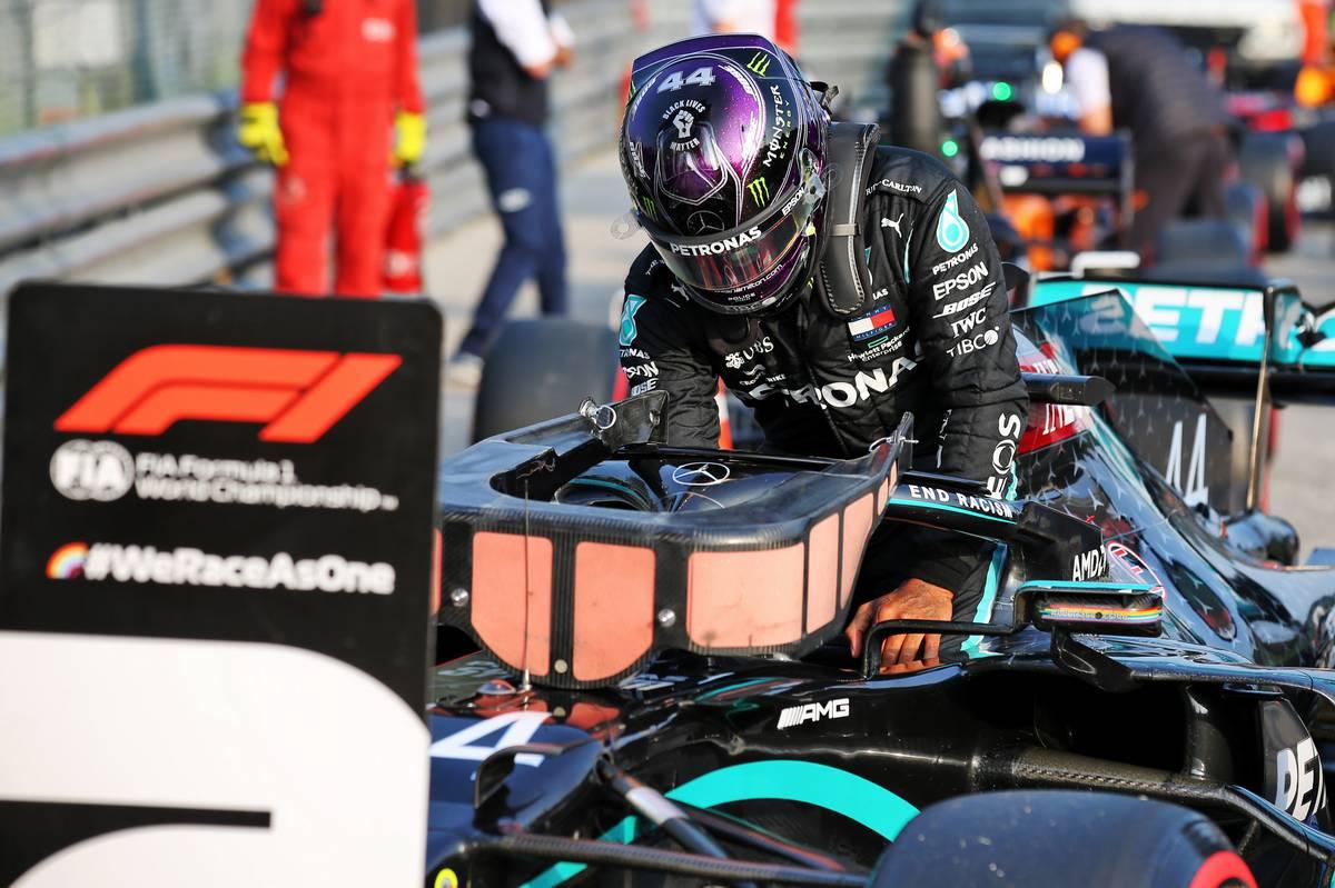 Lewis Hamilton (GBR) Mercedes AMG F1 W11 in qualifying parc ferme.