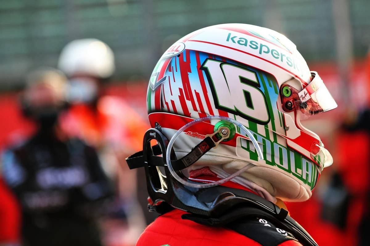 Charles Leclerc (MON) Ferrari in qualifying parc ferme.